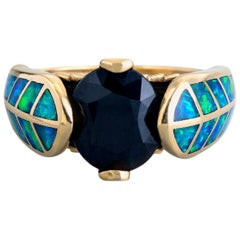 "6.75 Carat Black Sapphire and Australian Opal Inlay ""Hawk Feather"" Gold Ring"