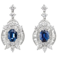 6.75 Carat Blue Sapphire and 8 Carat Diamond Platinum Drop Earrings