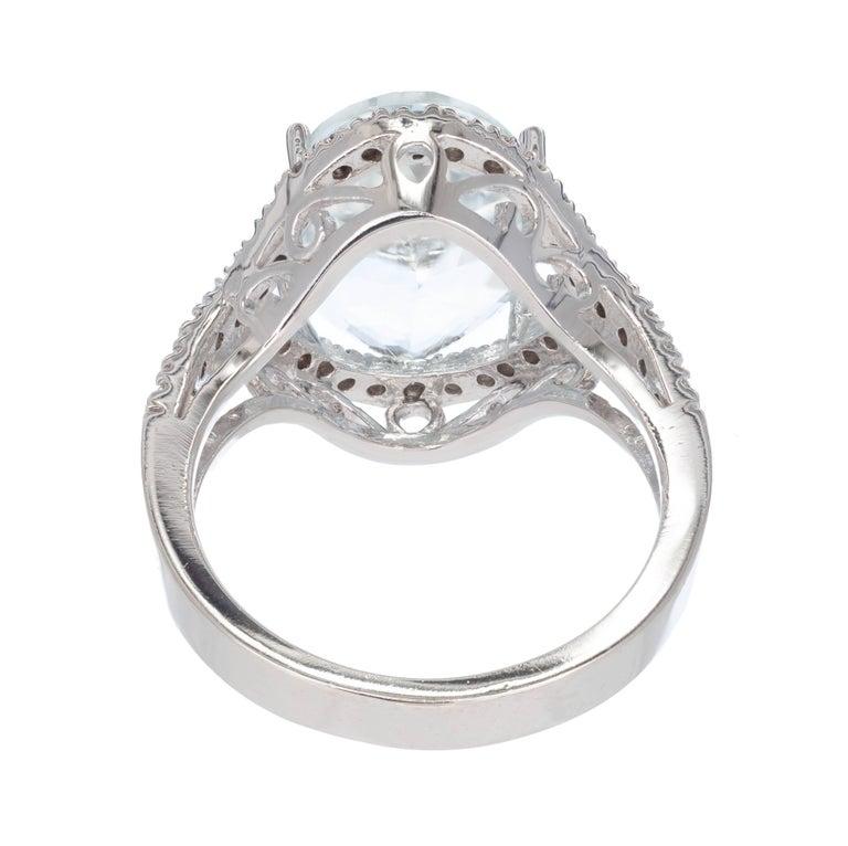 Women's 6.75 Carat Bright Green Blue Aquamarine Diamond Halo Gold Cocktail Ring For Sale