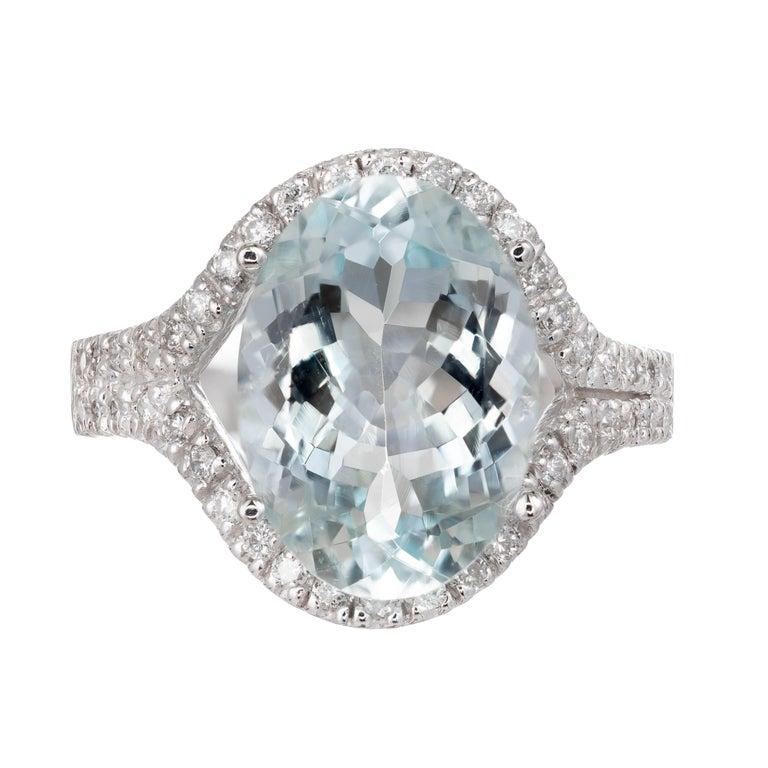 6.75 Carat Bright Green Blue Aquamarine Diamond Halo Gold Cocktail Ring For Sale