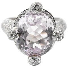 6.75 Carat Kunzite and Diamond 18 Karat White Gold Ring
