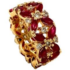6.75 Carat Natural Diamond and Ruby Ring Band 14 Karat Yellow Gold