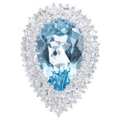 6.75 Carat Pear Aquamarine Diamond White Gold Cocktail Ring