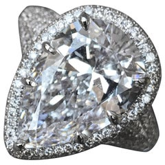 6.75 Carat Pear Shape Engagement Ring G SI2, GIA Certified Set in Platinum Halo