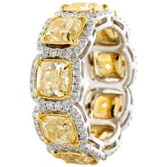 6.75 Carat Total Weight Natural Fancy Yellow Cushion Cut Eternity Ring
