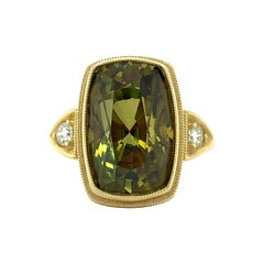 6.75 Carat Tourmaline Cushion & Diamond Handmade Yellow Gold Engraved Bezel Ring