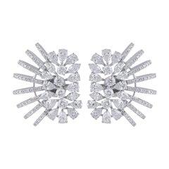 6.75 Carats Diamond 18 Karat Gold Ear Cuff Earrings