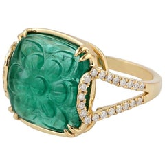 6.75 Carved Emerald 18 Karat Gold Diamond Ring