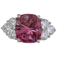 6.75 Ct Cushion Natural Pink Spinel & Diamond Custom Ladies Ring By Ben Dannie