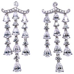 6.76 Carat 18 Karat Dangling Diamond Earrings