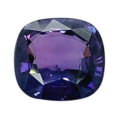 6.76 Carat Color Change Sapphire Cushion GIA Unset 3-Stone Ring Pendant Gemstone