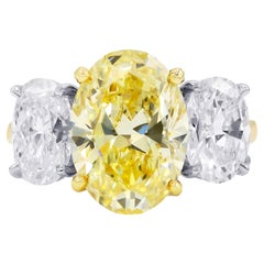6.77 Carat GIA Certified Three Oval Cut Diamond Ring