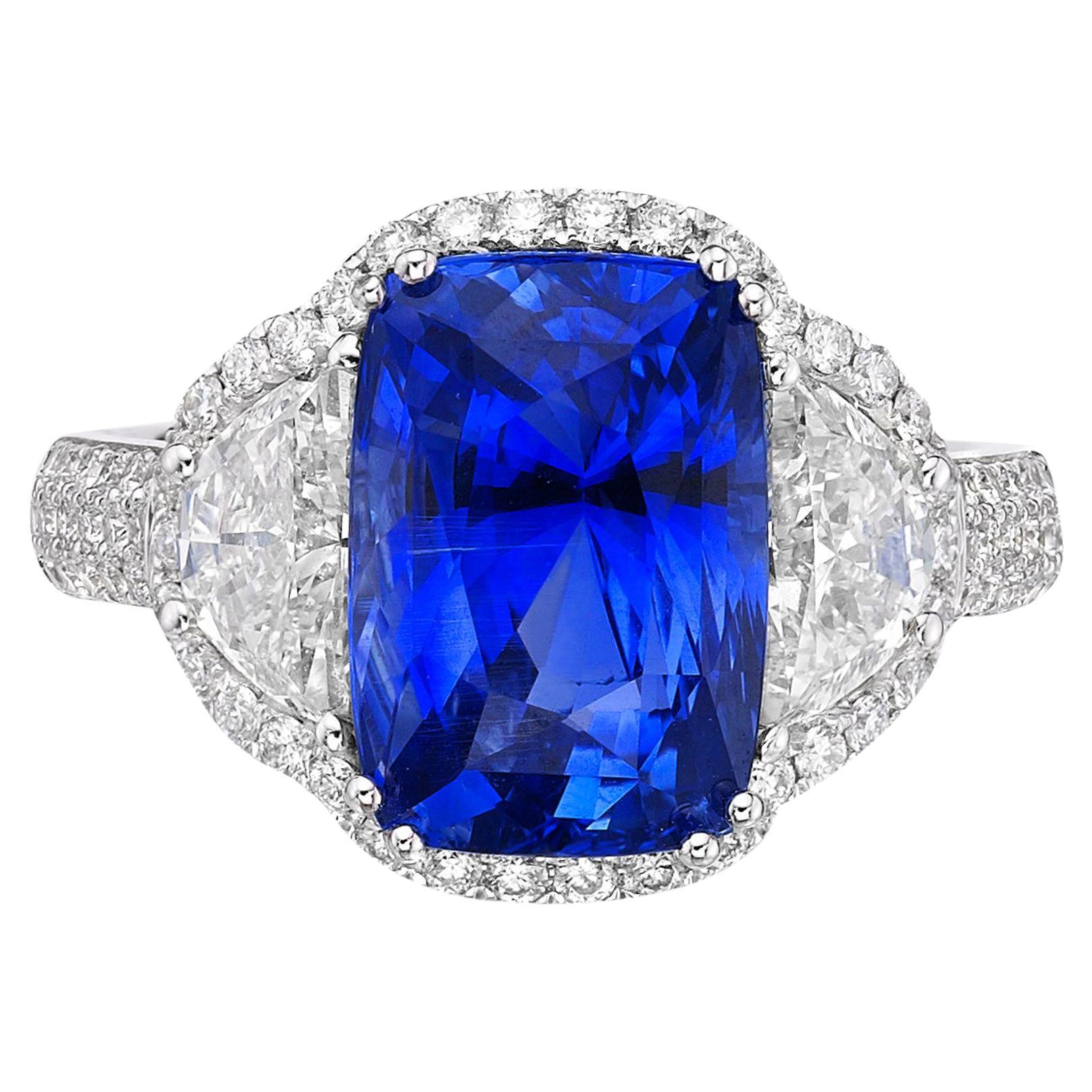 6.77 Carat Blue Sapphire GRS Certified Unheated Diamond Ceylon Ring Cushion Cut