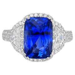 6.77 Carat GRS Certified 18K Gold Non Heated Sapphire and Natural Diamond Ring
