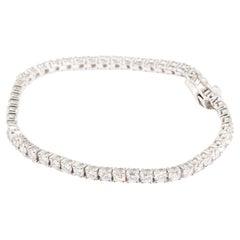 6.77 Carat Round Brilliant Cut Diamond Tennis Bracelet in 18 Carat White Gold