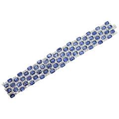 67.97 Emerald Cut Sapphire and Emerald Cut White Diamond Cuff Bracelet