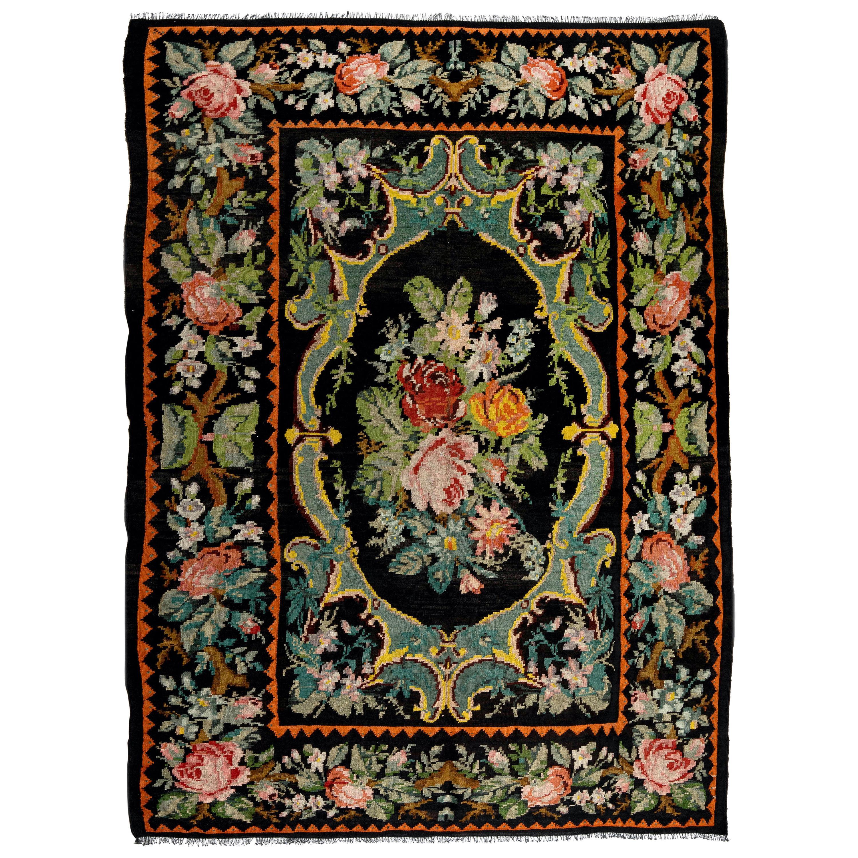 6.9x9 Ft Vintage Bessarabian Kilim, Floral Handwoven Wool Rug from Moldova