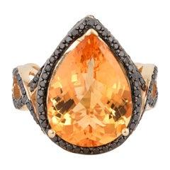 6.8 Carat Citrine and Black Diamond Ring in 14 Karat Yellow Gold