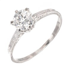 .68 Carat Old European Diamond Hand Engraved Platinum Solitaire Engagement Ring