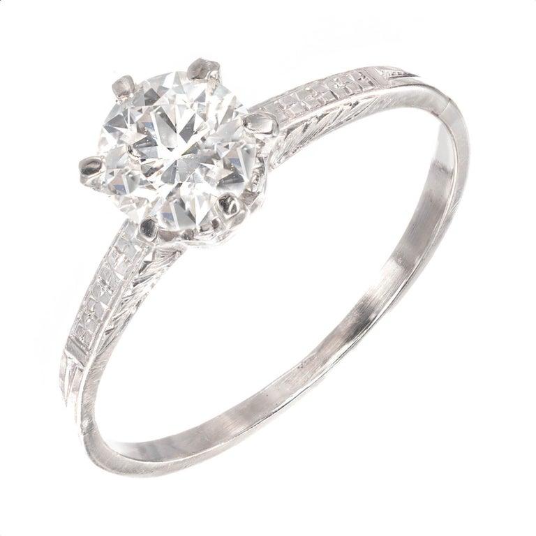 a3d54de4d1e6d .68 Carat Old European Diamond Hand Engraved Platinum Solitaire Engagement  Ring