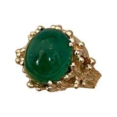 6.8 Carat Oval Emerald Cabochon 14 Karat Yellow Gold Cocktail Ring Vintage