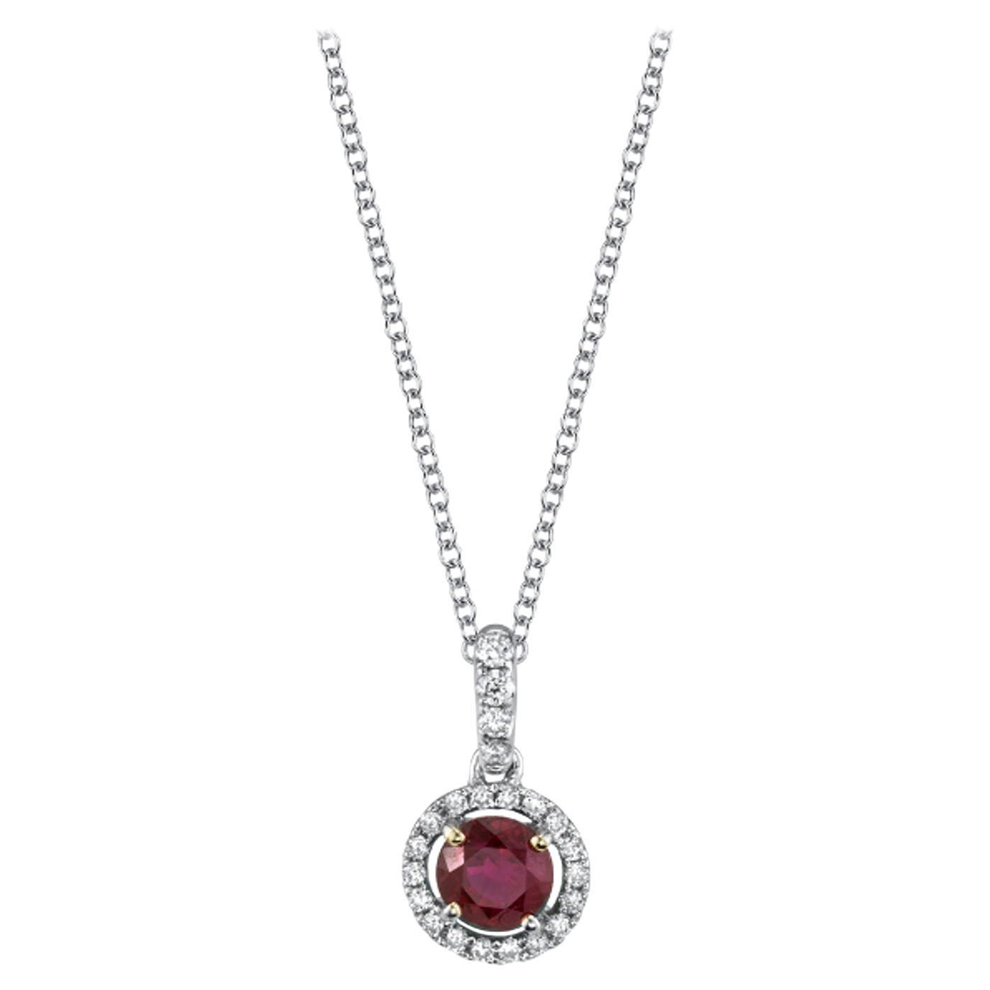 .68 Carat Ruby and Diamond 18k White Gold Pendant