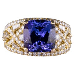 6.80 Carat No Heat Tanzanite Ring with Diamonds 18 Karat Gold