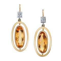 6.80 Carat Precious Topaz with 0.48 Carat Diamond 18 Karat Yellow Gold Earrings