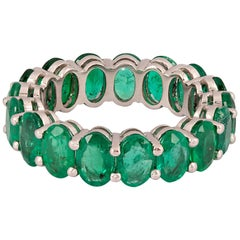 6.80 Carat Total Oval Emerald Platinum Eternity Band