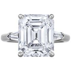 6.80 Carat Vintage Emerald Cut Diamond Platinum Engagement Ring