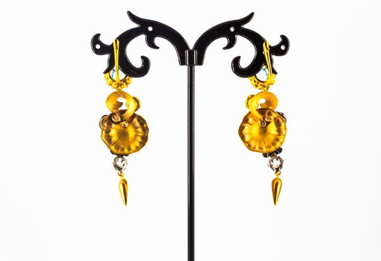 6.80 Carat White Rose Cut Diamond Blue Sapphire Blue Topaz Yellow Gold Earrings For Sale 5