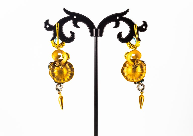 6.80 Carat White Rose Cut Diamond Blue Sapphire Blue Topaz Yellow Gold Earrings For Sale 6