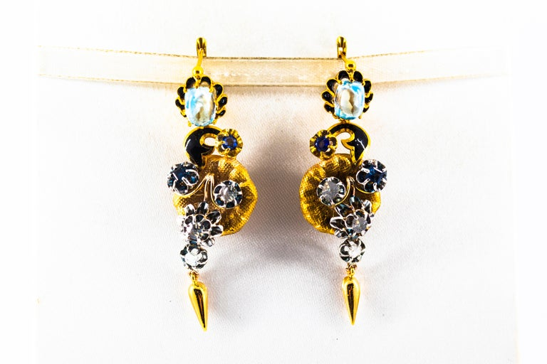 Art Nouveau 6.80 Carat White Rose Cut Diamond Blue Sapphire Blue Topaz Yellow Gold Earrings For Sale
