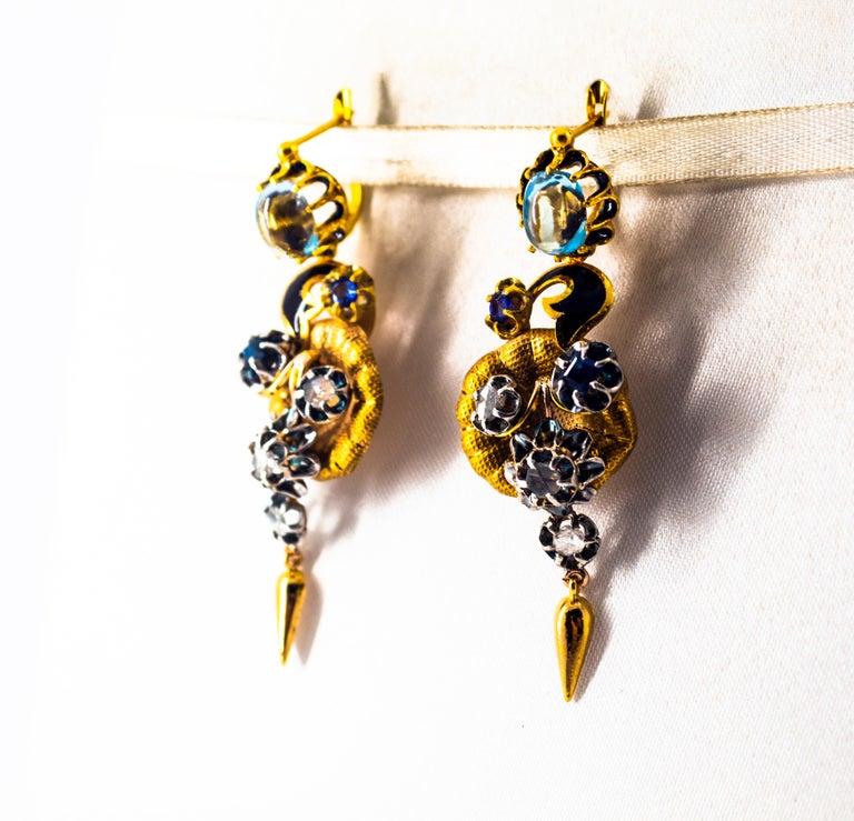 Women's or Men's 6.80 Carat White Rose Cut Diamond Blue Sapphire Blue Topaz Yellow Gold Earrings For Sale