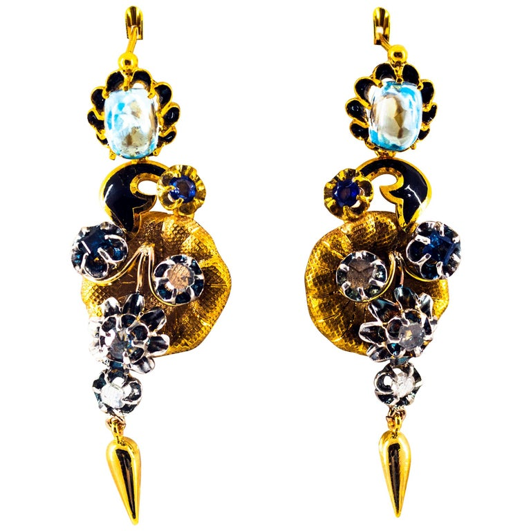 6.80 Carat White Rose Cut Diamond Blue Sapphire Blue Topaz Yellow Gold Earrings For Sale