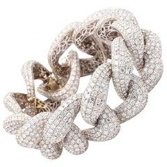 68.09 Carat Round Brilliant Cut Pave Link Bracelet