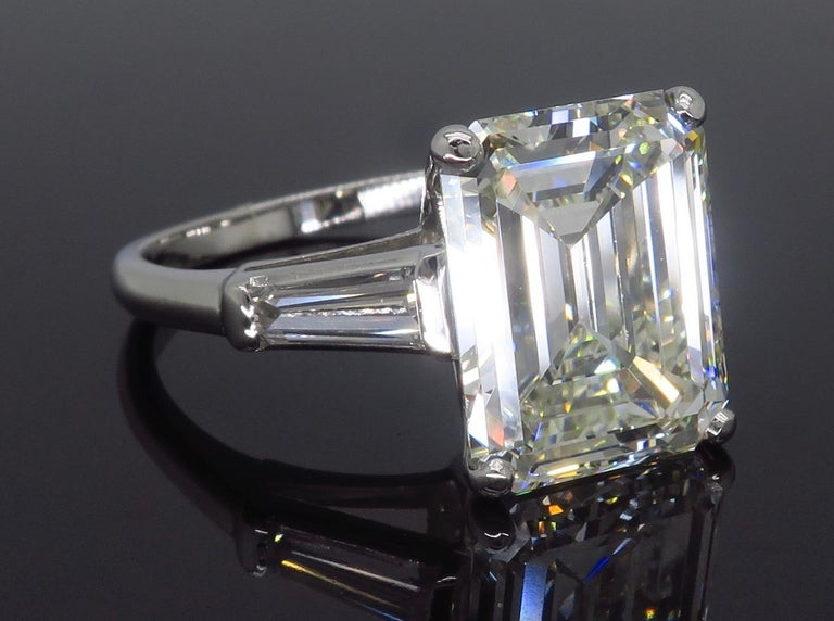 6.81 Carat Emerald Cut Diamond Ring For Sale 6