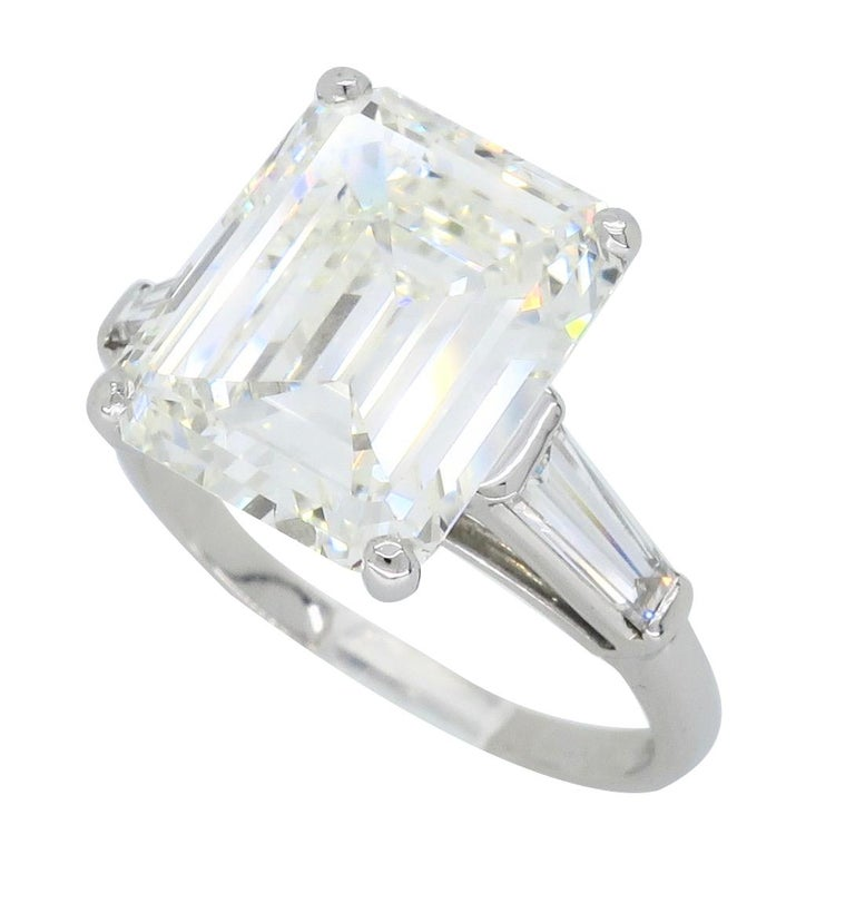 6.81 Carat Emerald Cut Diamond Ring For Sale 7