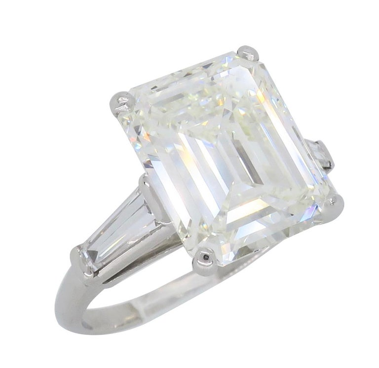 6.81 Carat Emerald Cut Diamond Ring For Sale 8