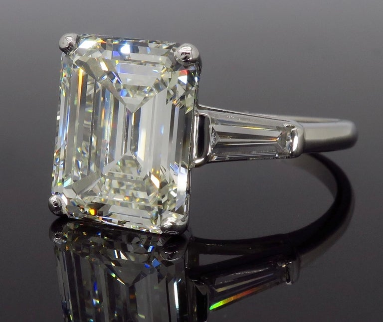 6.81 Carat Emerald Cut Diamond Ring For Sale 2