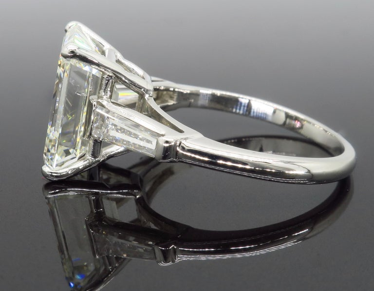 6.81 Carat Emerald Cut Diamond Ring For Sale 3