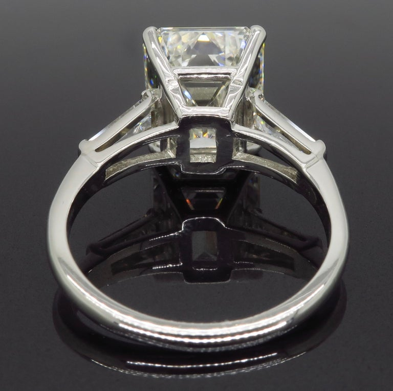 6.81 Carat Emerald Cut Diamond Ring For Sale 4