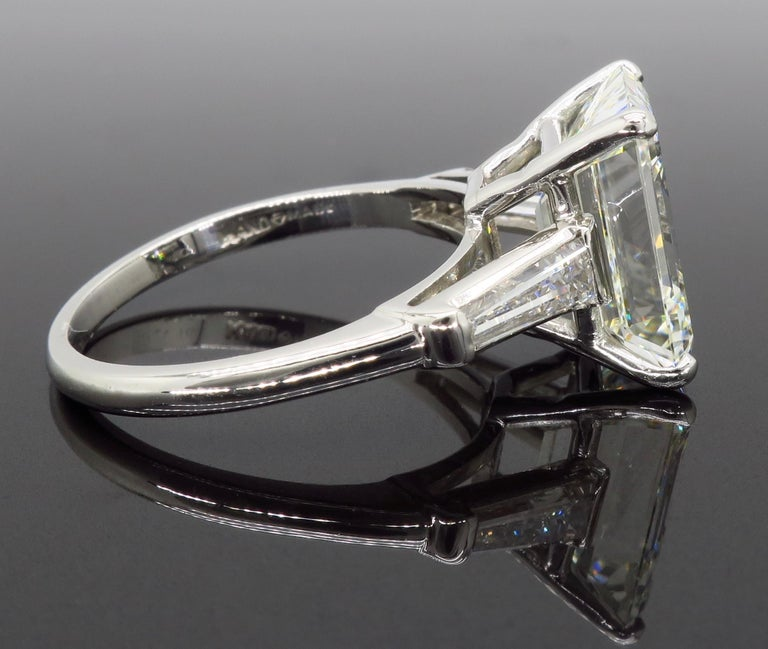 6.81 Carat Emerald Cut Diamond Ring For Sale 5
