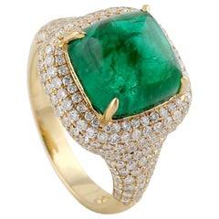6.81 Carat Emerald Diamond 18 Karat Gold Ring