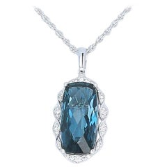 6.81 Carat London Blue Topaz and Diamond Pendant Necklace, 14 Karat Gold Halo