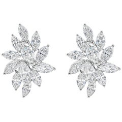 6.81 Carat Marquise Cut Diamond Starburst Earrings