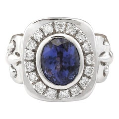 6.81 Carat Tanzanite 18 Karat White Gold Diamond Ring