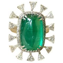 6.819 Carat Emerald Cabochon and Diamond Ring Set in 18 Karat Gold