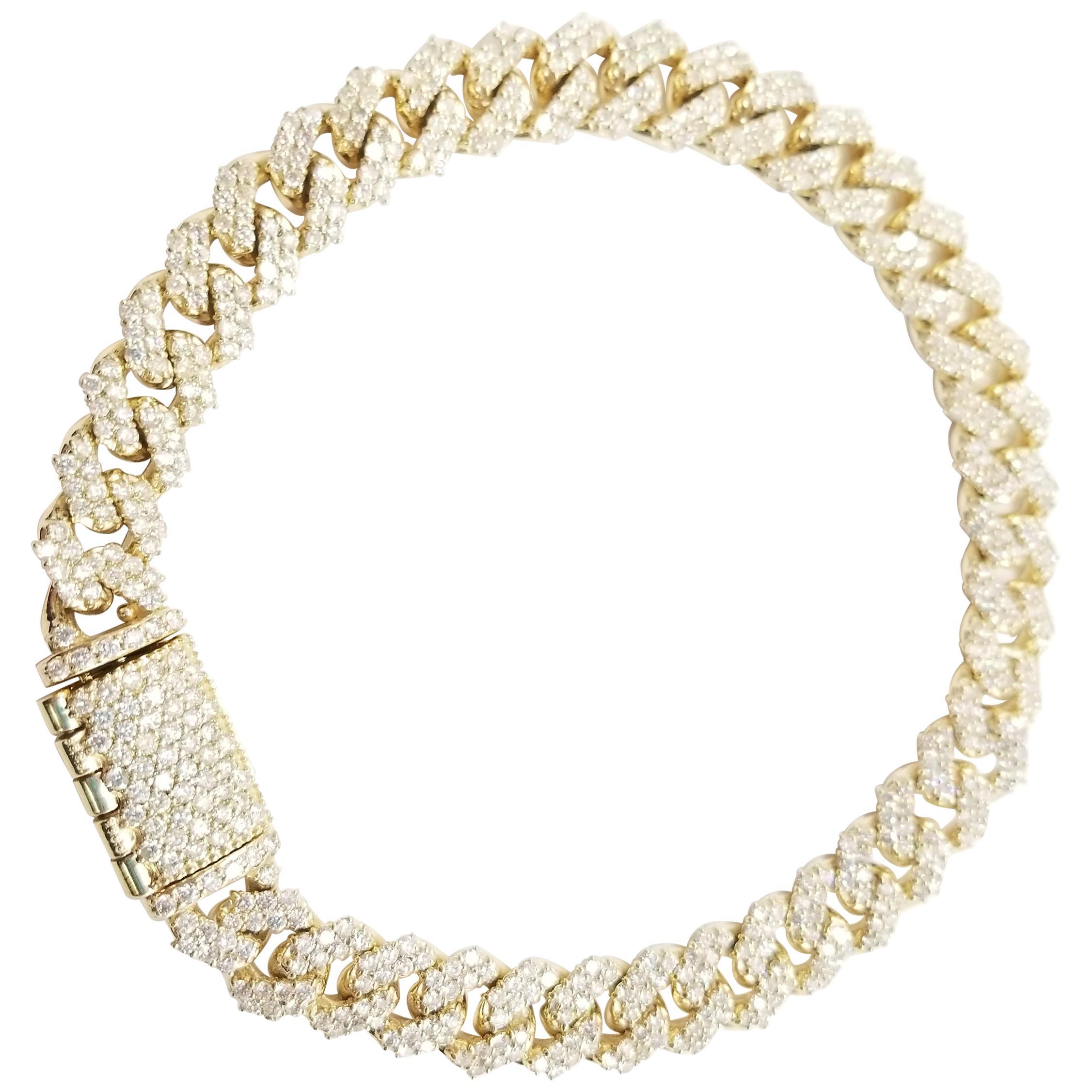 6.82 Carat Diamond Men's Cuban Link Chain Solid 14 Karat Yellow Gold