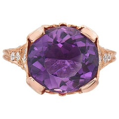 6.82 Carat Rose Gold Filigree Amethyst and Diamond Engagement Ring